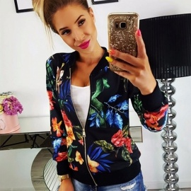 Europe And America New Jackets Floral Print Casual Zipper O-Neck Slim Baseball Coats For Women Black/S
