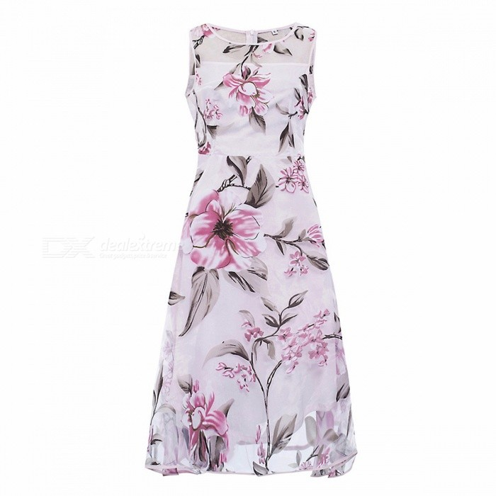 Europe And America Summer Dress Organza Pink Floral Print Straight O-Neck Sleeveless Dresses For Women Pink/S