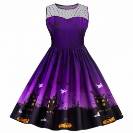Europe And America Dress Halloween Pumpkin Print Large Size Sleeveless A-Line Dresses For Women Purple/XL