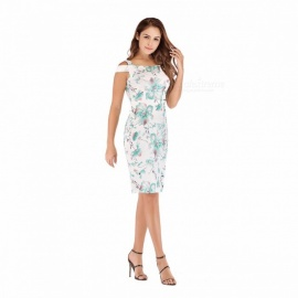 Summer Dress Asymmetrical Sleeveless Off Shoulder Casual Floral Print Pencil Dresses For Women White/M
