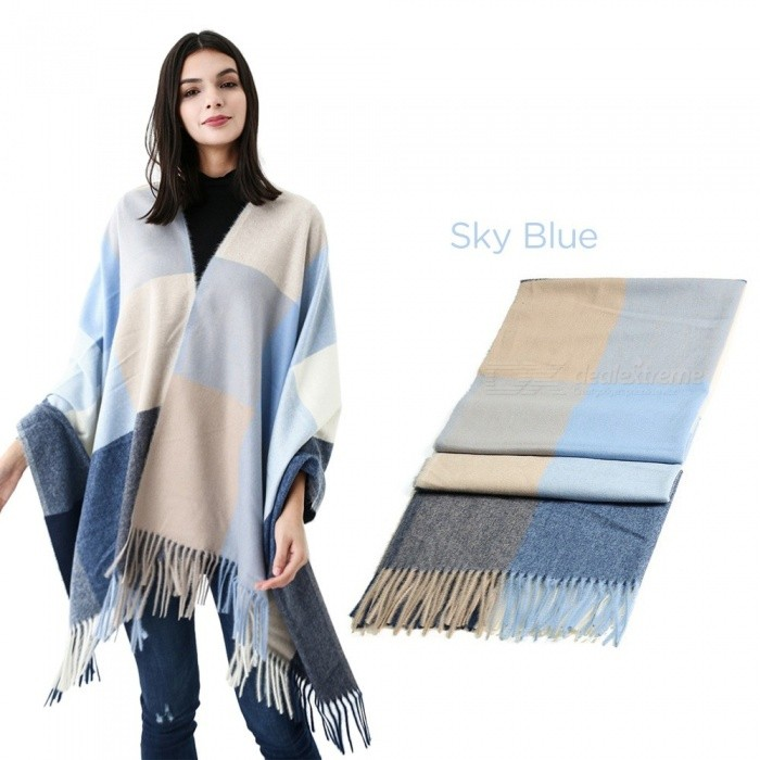 190x75cm Fashion Winter Warm Big Long Scarf For Women, Female Luxury Plaid Cashmere Thick Scarves Black/One Size