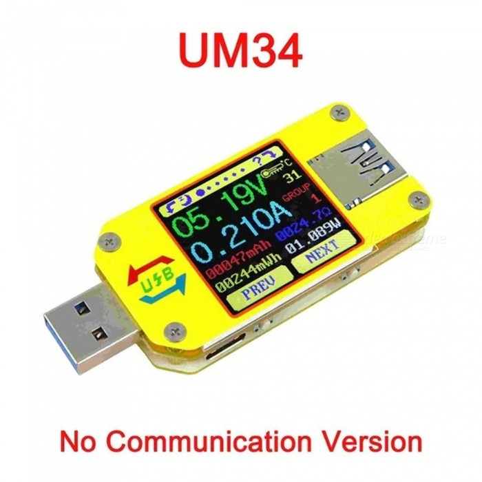 UM34 APP USB 3.0 Type-C DC Voltmeter Ammeter / Voltage Current Meter, Battery Charge Measure Cable Resistance Tester As the Picture
