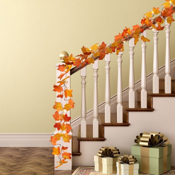 Maple Leaves LED String 3M 30LED Autumn Stair Railing Decoration Plants Fence Party Lights AA Battery Operated