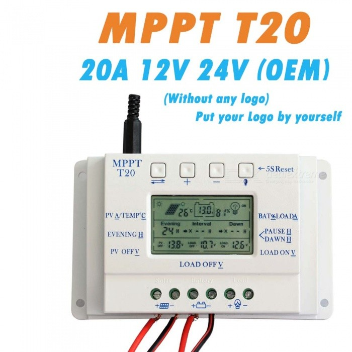 ZHAOYAO OEM LCD Display 20A MPPT 12V/24V Solar Panel Battery Regulator Charge Controller without Any Logo On Surface T20 LCD