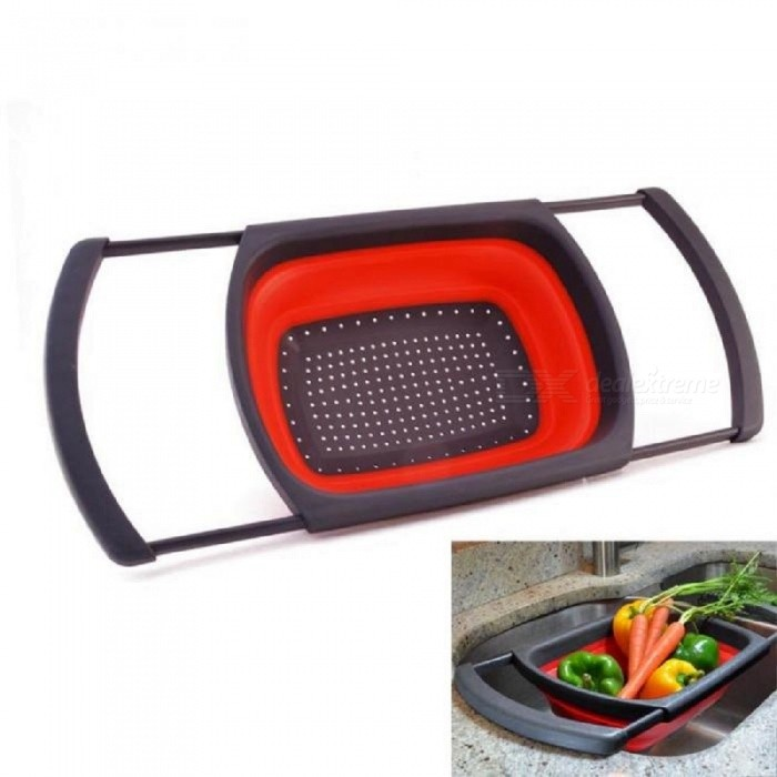 JEDX Folding Draining Basket Fruit Vegetable Strainer Kitchen Folding Strainers With Retractable Handles Kitchen Tools