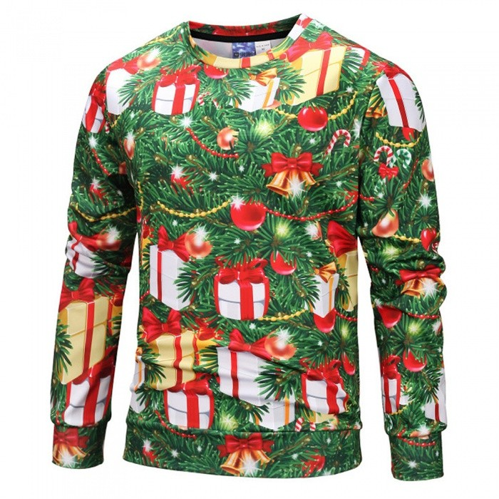 WY808605 Autumn Winter Creative Christmas Tree Lights Printing Sweatshirts, Couples Tee-shirt