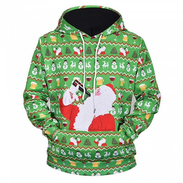 L61001 Autumn Winter 3D Santa Claus Digital Printing Men/Women Hooded Christmas Sweatshirts