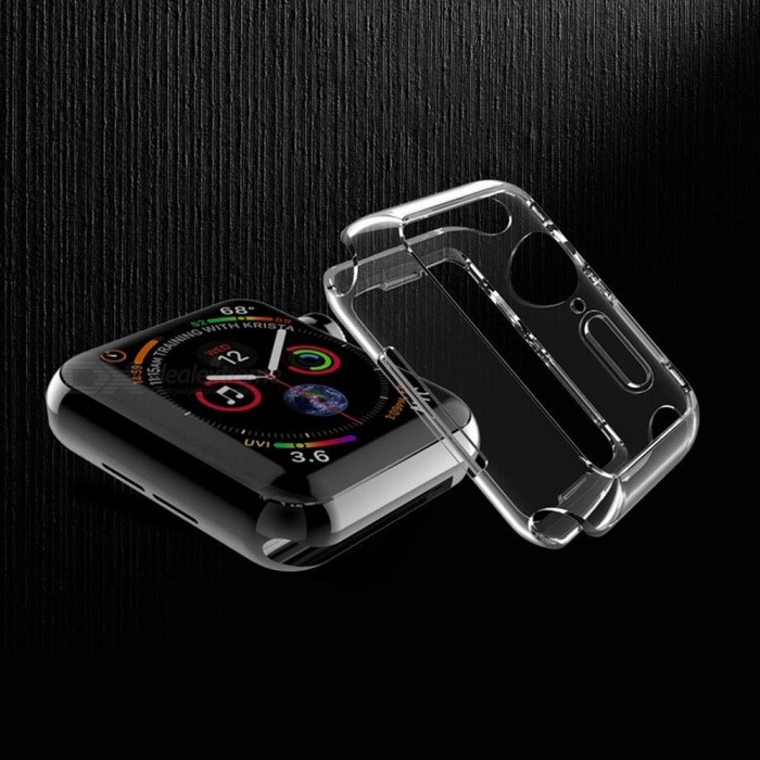 2-PACK Miimall Compatible with Apple Watch Series 4 Case, Clear Soft TPU Shockproof Bumper Case Replacement for iWatch Cover