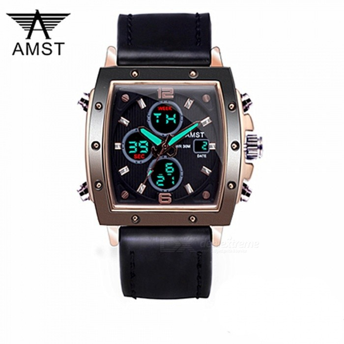 ESAMACT Square dial Men Analog Digital Army Military Watch 5ATM Waterproof Clock Sport Wristwatch Quartz LED Mens Watches