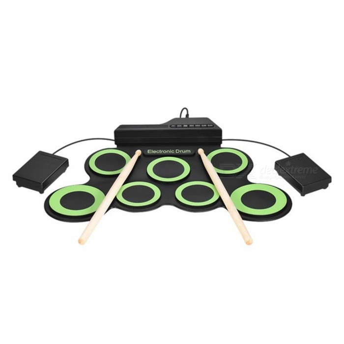 ESAMACT Portable Electronic Drum Digital USB 7 Pads Roll up Drum Set Silicone Electric Drum Pad Kit With DrumSticks Foot Pedal