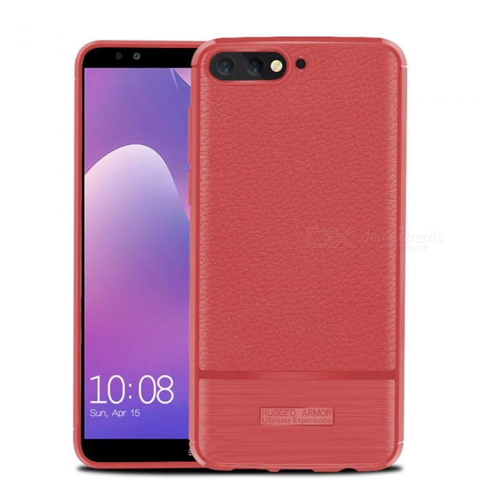 Naxtop Case for Huawei Y7 Pro 2018 Soft TPU Lychee Pattern Slim Light Phone Case Shock Resistant Non-Slip Anti-Scratch Anti-Fing