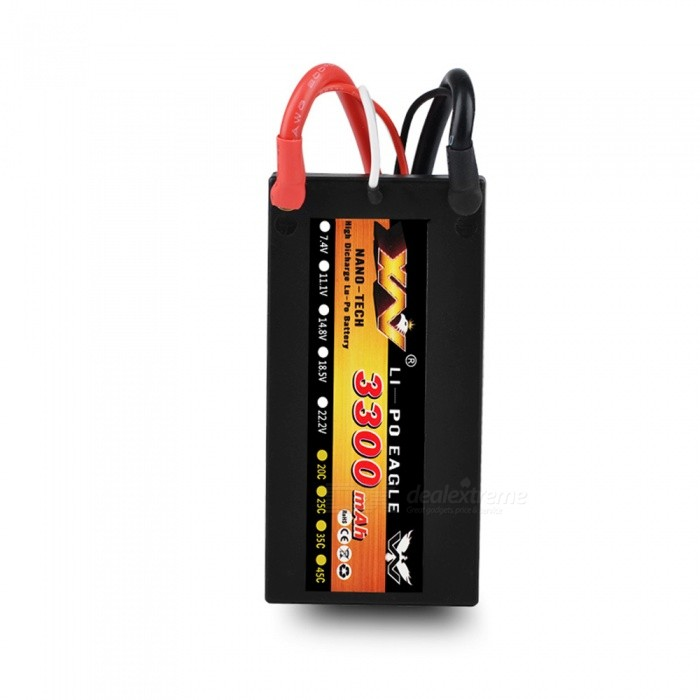 HJ 7.4V 3300mAh 25C 2S 1P Lipo Battery T Plug Rechargeable for RC Racing Drone Quadcopter Helicopter Car Boat Model