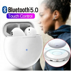 Round Touch Control Bluetooth 5.0 Air Power Bank Stereo Wireless Charger Earphone TWS Earbuds Sports Headphone
