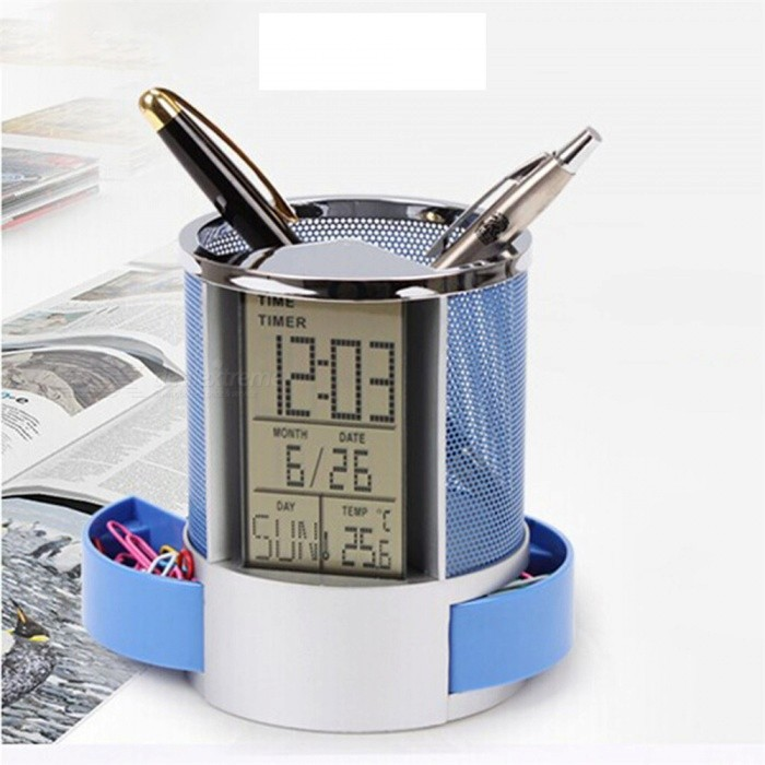 Maikou Electronic Stainless Steel Mesh Calendar Pen Holder Multifunctional Clock For Office Supplies