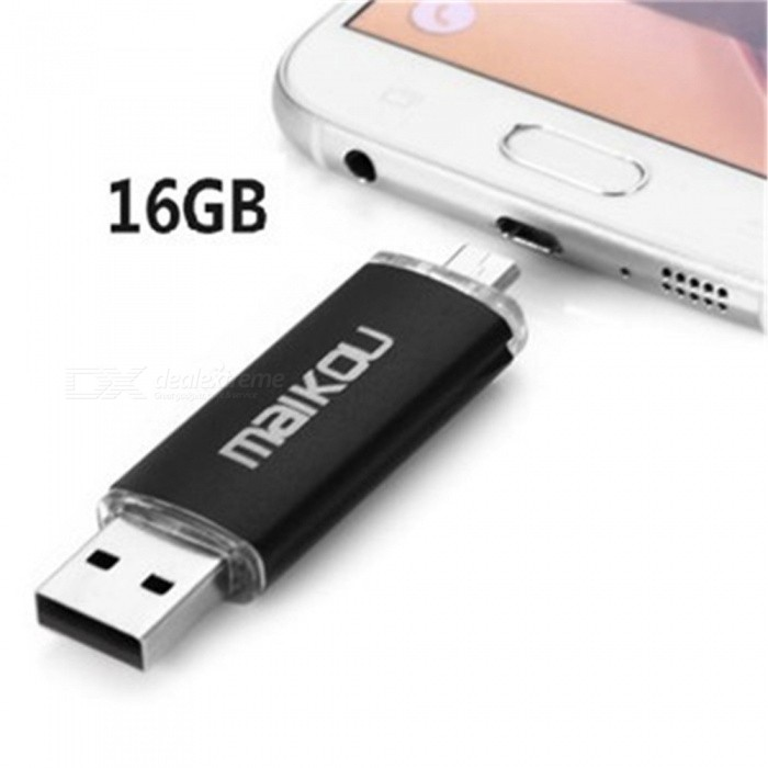 Maikou Multicolor OTG USB2.0 16GB Flash Drive Stick for Smart Phone/PC  - Black