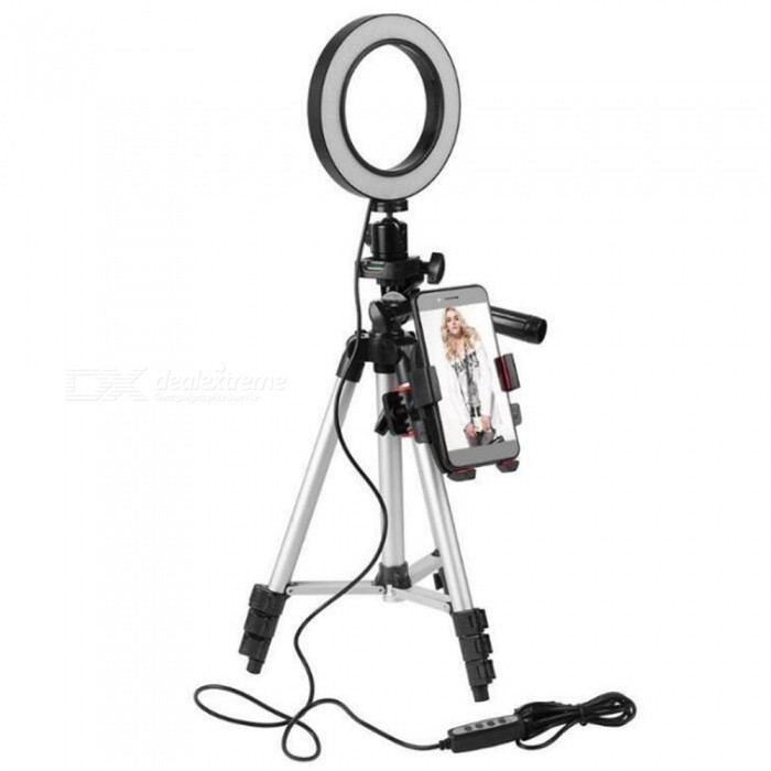 5.7-Inch Dimmable Led Ring Light With Tripod Fill Light Mobile Phone Holder