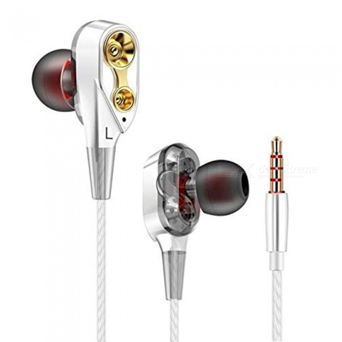 XSUNI Explosion In-Ear Quad-Core Double Moving Ring Headphones Running Game Music Headphones