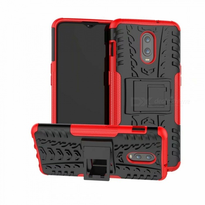 3D Relief Emboss Phone Cover Back Case with Stand for Oneplus 6T - Red