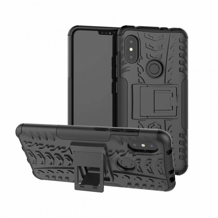 3D Relief Emboss Phone Cover Back Case with Stand for Xiaomi Redmi Note 6 Pro - Black