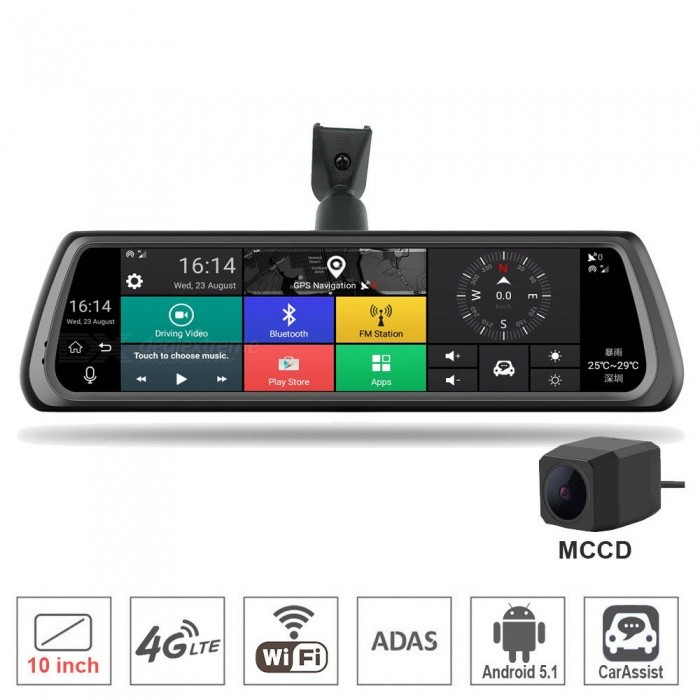 "ESAMACT 10"" Full Touch IPS Car DVR Camera Rearview Mirror GPS Navigation Dual Lens Automobile WIFI 4G Network Video Recorder"