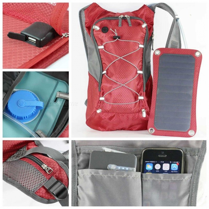 d0819186dc5 ... Sport Cycling Water Bag Outdoor Solar Panel USB Charger Bicycle  Hydration Backpack Knapsack