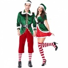 PS1961 New Christmas Cosplay Couple Costumes Green Elf Suit Party Role Play Costume New Year\'s  Clothes Women Multi/XXL