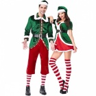 PS1961 New Christmas Cosplay Couple Costumes Green Elf Suit Party Role Play Costume New Year\'s  Clothes Women Multi/L