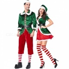 PS1961 New Christmas Cosplay Couple Costumes Green Elf Suit Party Role Play Costume New Year\'s  Clothes Women Multi/M