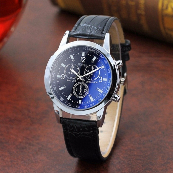 Buy Casual Mens Wrist Watch With Grain Leather Strap, Fashionable Two-tone Watch With Sub-dials Blue with Litecoins with Free Shipping on Gipsybee.com