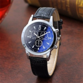 Casual Mens Wrist Watch With Grain Leather Strap, Fashionable Two-tone Watch With Sub-dials Blue