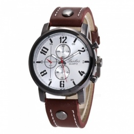 Fashion Men\'s Watch Three Eyes Set Digital Wristwatches With Leather Strap Brown