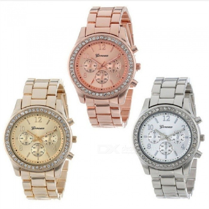 Buy Geneva Wristwatches Stainless Steel Strap 521 Diamond Digital Watches For Women Gold with Litecoins with Free Shipping on Gipsybee.com