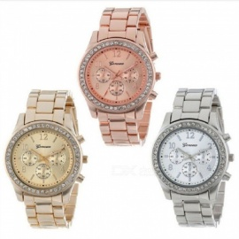 Geneva Wristwatches Stainless Steel Strap 521 Diamond Digital Watches For Women Gold