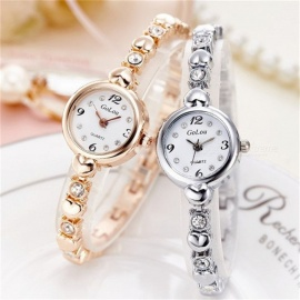 Round Digital Wristwatches Diamond Stainless Steel Strap Elegant Fashion Watches For Women Gold