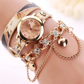 Summer Style Fashion Casual Elegant Diamond Bracelet Watches Women Quartz Wristwatches Beige