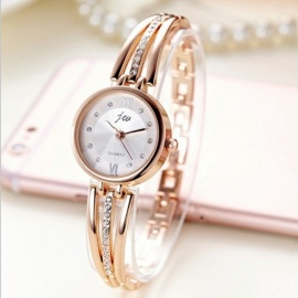 Round Digital Wristwatches Diamond Strap Elegant Fashion Watches For Women Gold