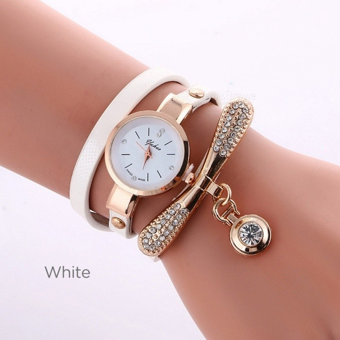 The New Women Bracelet Diamond Circle Watch Student Fashion Quartz Watches Brown