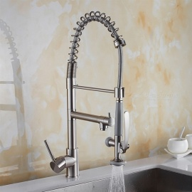 Brass Brushed Pull-out/­Pull-down 360 Degree Rotatable One-Hole Kitchen Faucets with Ceramic Valve, Single Handle