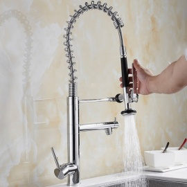 Brass Chrome Pull-out/­Pull-down 360 Degree Rotatable One-Hole Kitchen Faucets with Ceramic Valve, Single Handle