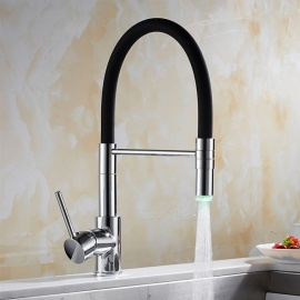 Brass Chrome LED RGB 360 Degree Rotatable Ceramic Valve Single Handle One-Hole Kitchen Faucet