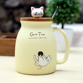 ZHAOYAO New Sesame Cat Heat-Resistant Cup Color Cartoon With Lid Cup Kitten Milk Coffee Ceramic Mug Children Cup Office Gifts