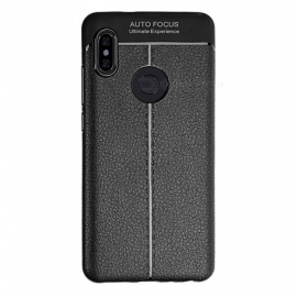 Protective Ultra-slim Lichee Pattern TPU Back Case for Xiaomi Redmi Note 6 Pro - Black