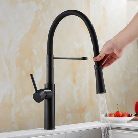 Brass Black Spray Paint 360 Degree Rotatable Ceramic Valve Single Handle One-Hole Kitchen Faucets