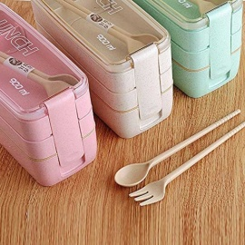 ZHAOYAO 900ml Healthy Material Lunch Box 3 Layer Wheat Straw Bento Boxes Microwave Dinnerware Food Storage Container Lunchbox