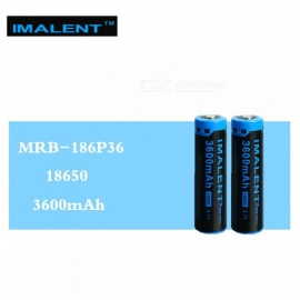 IMALENT 2PCS 3600mAh MRB-186P36 3.7V Li-ion Rechargeable Battery High Performance High Quality for High Drain LED Flashlights