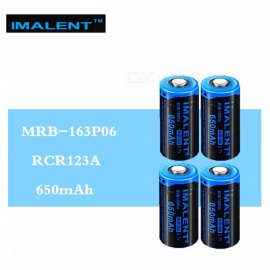 4 pcs IMALENT 16340 650mAh RCR123A 3.7V Li-ion MRB-163P06 Rechargeable battery HIGH performance for high drain LED flashlights