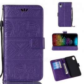 Measy Elephant Pattern Cover Flip Leather Wallet Case for IPHONE XR - Purple