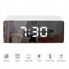 ZHAOYAO LED Mirror Alarm Clock Digital Snooze Table Clock Wake Up Light Electronic Temperature Display Home Decoration Clock
