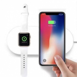 Measy 2 in 1 Qi Wireless Charging Pad Fast Charger Compatible with iWatch Apple Watch Series 4/3/2