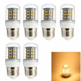HONSCO 6PCS E27 6W Wide Voltage  85-265V LED 220V 110V Corn Bulb Warm White Light 3000K 48-SMD 2835